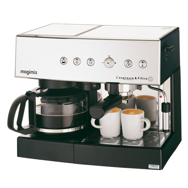 MACHINE EXPRESSO & FILTRE AUTOMATIQUE CHROME BRILLANT 19 BARS CAFE EN DOSETTE OU MOULU