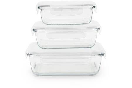 SET DE 3 BOITES EN VERRE 400ML/650ML/1L