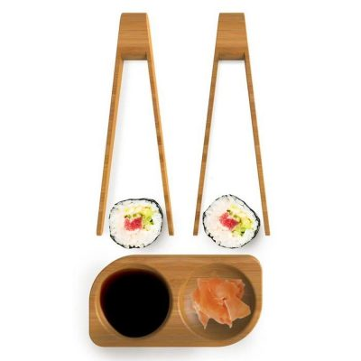 SET SUSHI EN BAMBOU 2 PINCES A SUSHI + COUPELLE DUO