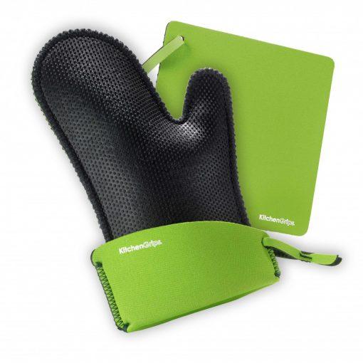 Set cuisson extensible : gant à four et manique - vert