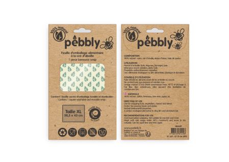 FEUILLE EMBALLAGE ALIMENTAIRE CIRE D'ABEILLE AVEC BOUTON 430X585MM